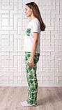 Женский домашний костюм Тропики, размер L, белая женская пижама (футболка и брюки), фото 3