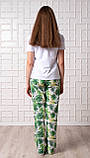 Женский домашний костюм Тропики, размер 2XL, белая женская пижама (футболка и брюки), фото 2