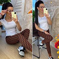 Тёплые женские брюки украшенные модным принтом, фото 1