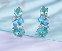 Серебряные серьги 925 пробы Игристые зеленый и синий кристалл ювелирные украшения ручной работы