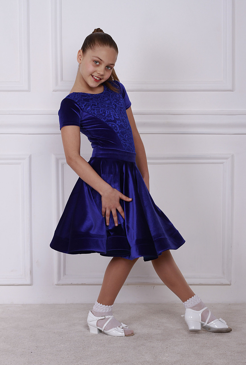 Рейтинговое платье Бейсик для бальных танцев Sevenstore 9139 Электрик
