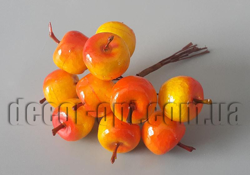 Яблоки  желто-красные на проволоке 2,5см/10шт