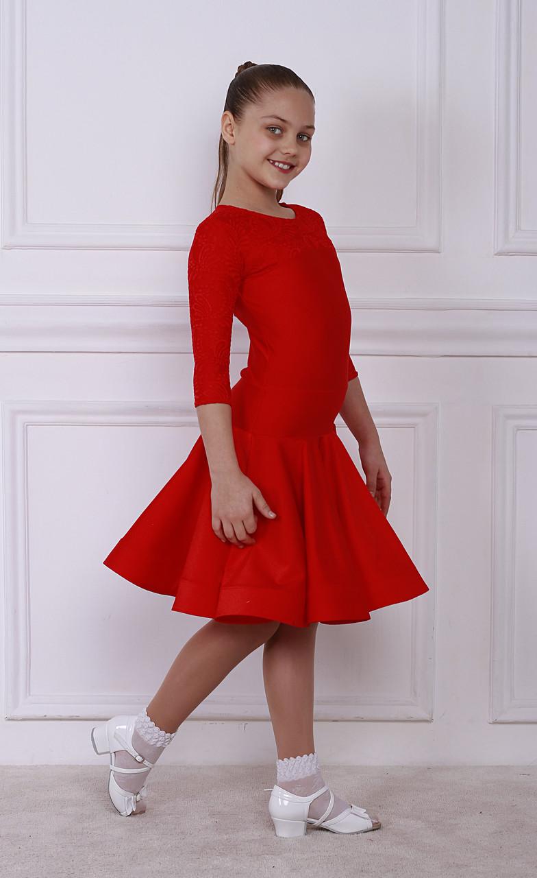 Рейтинговое платье Бейсик для бальных танцев Sevenstore 9134 Красный