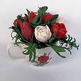 Букет з мильних кольорів тюльпанів Квіткова композиція з мила ручної роботи Мильний букет, фото 10