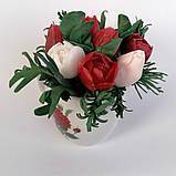Букет з мильних кольорів тюльпанів Квіткова композиція з мила ручної роботи Мильний букет, фото 6