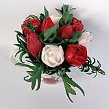 Букет з мильних кольорів тюльпанів Квіткова композиція з мила ручної роботи Мильний букет, фото 4
