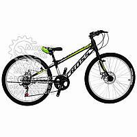 """Велосипед горный  24""""  """"CROSS""""  #LEGION  рама стальная 11"""", black-lightgreen ORIGINAL QUALITY"""