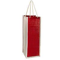 """Пакет подарочный бумажный из мешковины под бутылку """"Бордо"""" 12*35*12см R15857 (300шт)"""