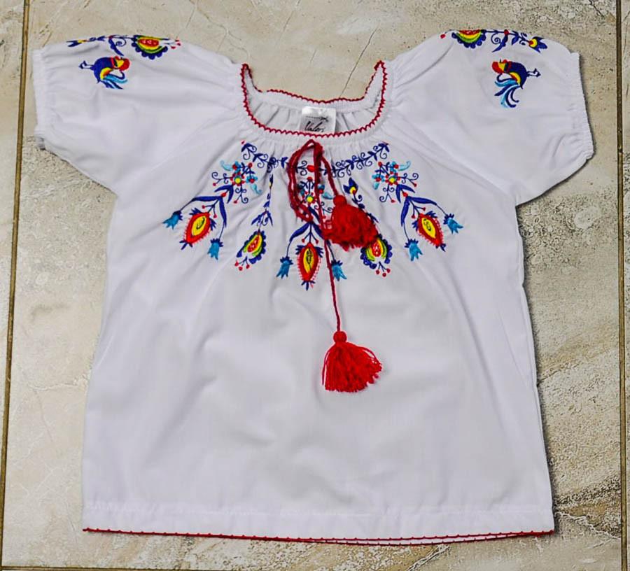 Вышиванка белого цвета Цветы для девочки, Valeri tex