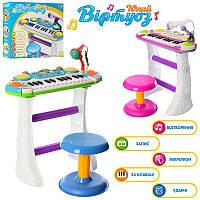 JT Пианино 7235 (8шт) Музыкант, на подставке, стул, микрофон, 2цвета,на бат-ке, в кор-ке, 46-44-12см