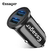 Essager автомобильное зарядное устройство 2 USB порта х 2.4A; DC5V 4.8A Black