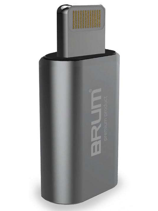 Переходник BRUM P002 с micro USB на Lightning серый
