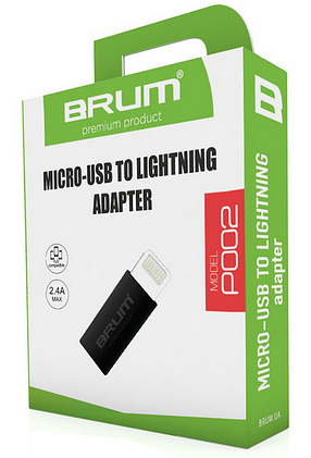 Переходник BRUM P002 с micro USB на Lightning серый, фото 2