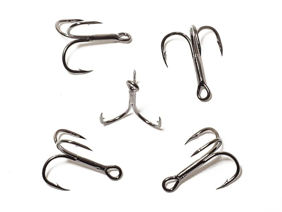 Тройник Kosadaka Treble hook cutting point black chrome sizes 6 (1уп=100шт)