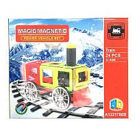 Конструктор JH8939  магнитный, поезд, 24дет, в кор-ке, 34-25-10см