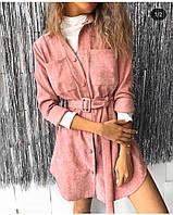 Стильное  женское вельветовое платье - рубашка на кнопках, с поясом и карманами. (42-48)