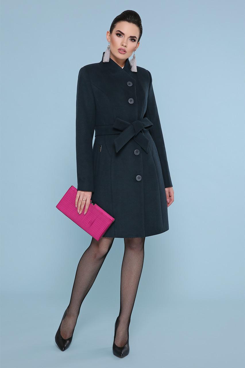 Пальто женское шерсть изумрудное П-333