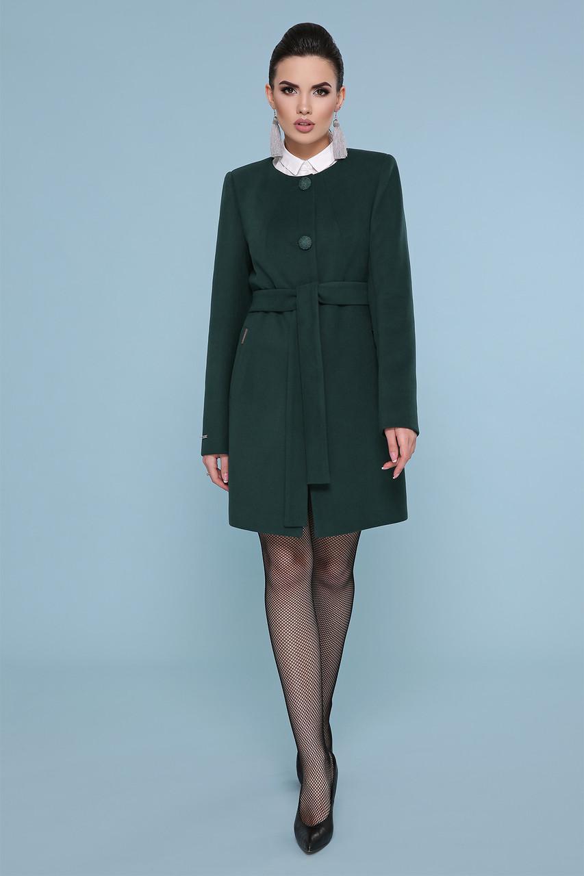 Пальто женское демисезонное без воротника короткое изумрудное П-337-К