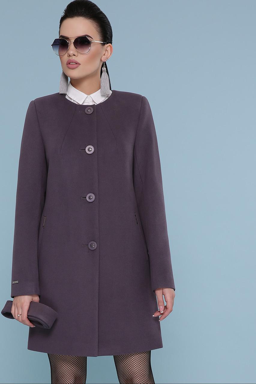 Пальто женское демисезонное без воротника короткое сиреневое П-337-К