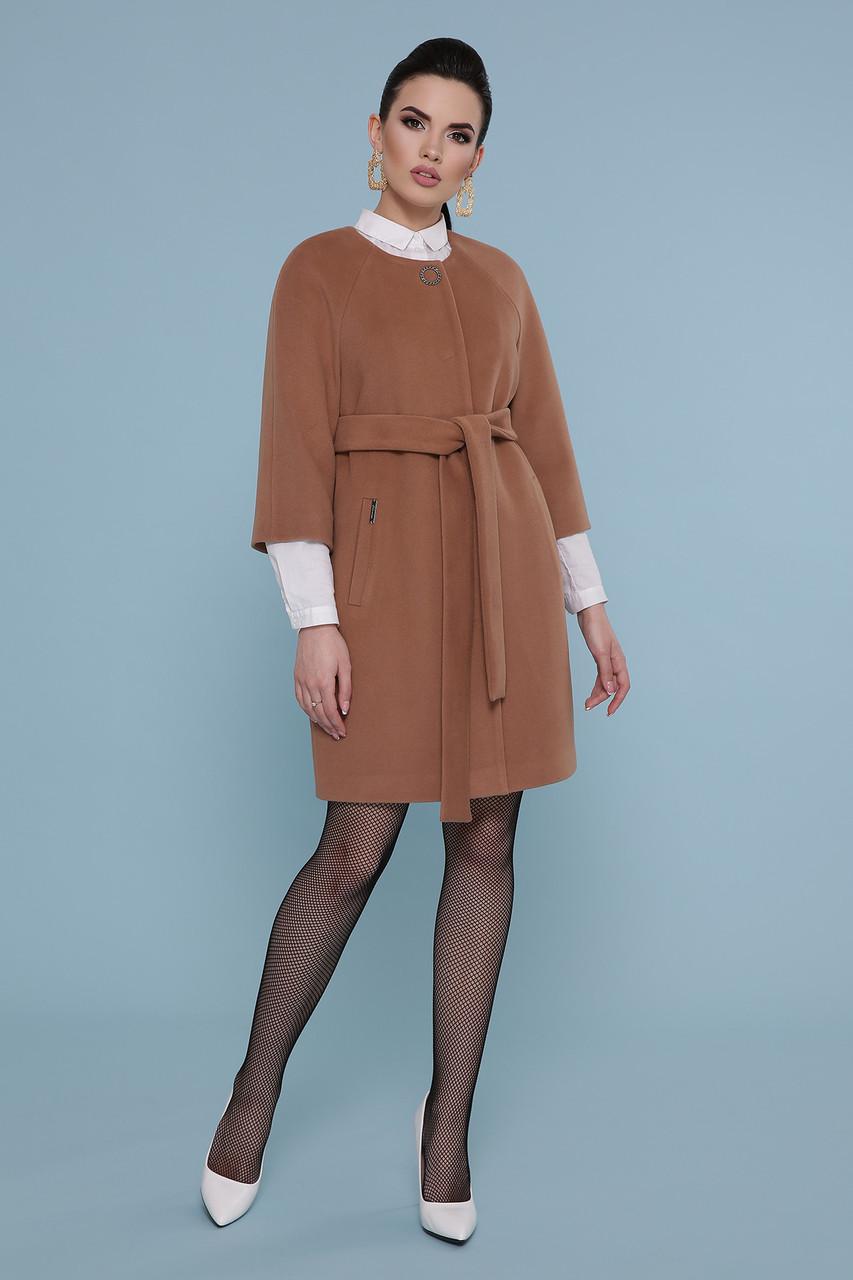 Пальто женское с рукавом 3/4 темно-бежевое П-355