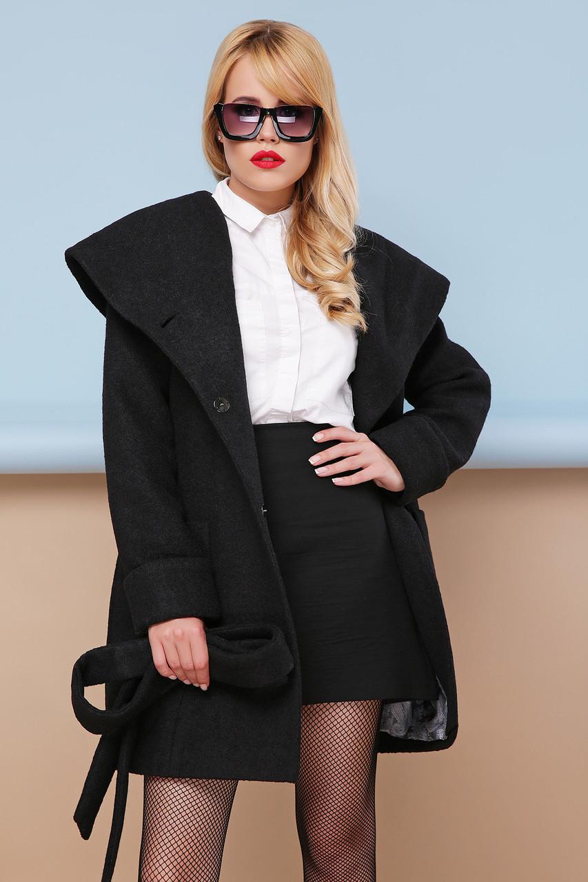Пальто женское короткое с капюшоном черное П-3к