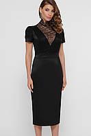 Платье коктейльное атласное с кружевом черное Дафния