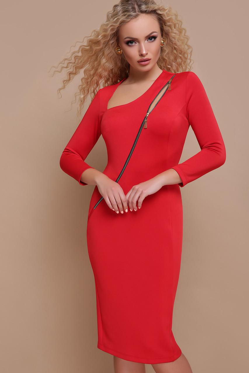 Платье облегающее с асимметричным вырезом красное Лилита