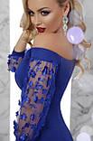Платье с открытыми плечами синее Розана, фото 3