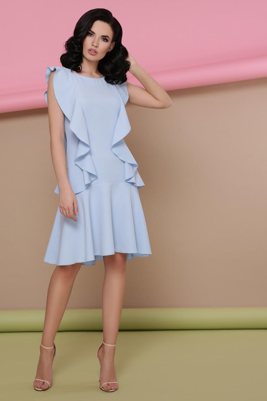 Платье с воланами голубое Шейла