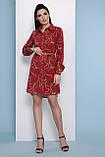 Платье рубашка бордовое с принтом Аврора П, фото 3