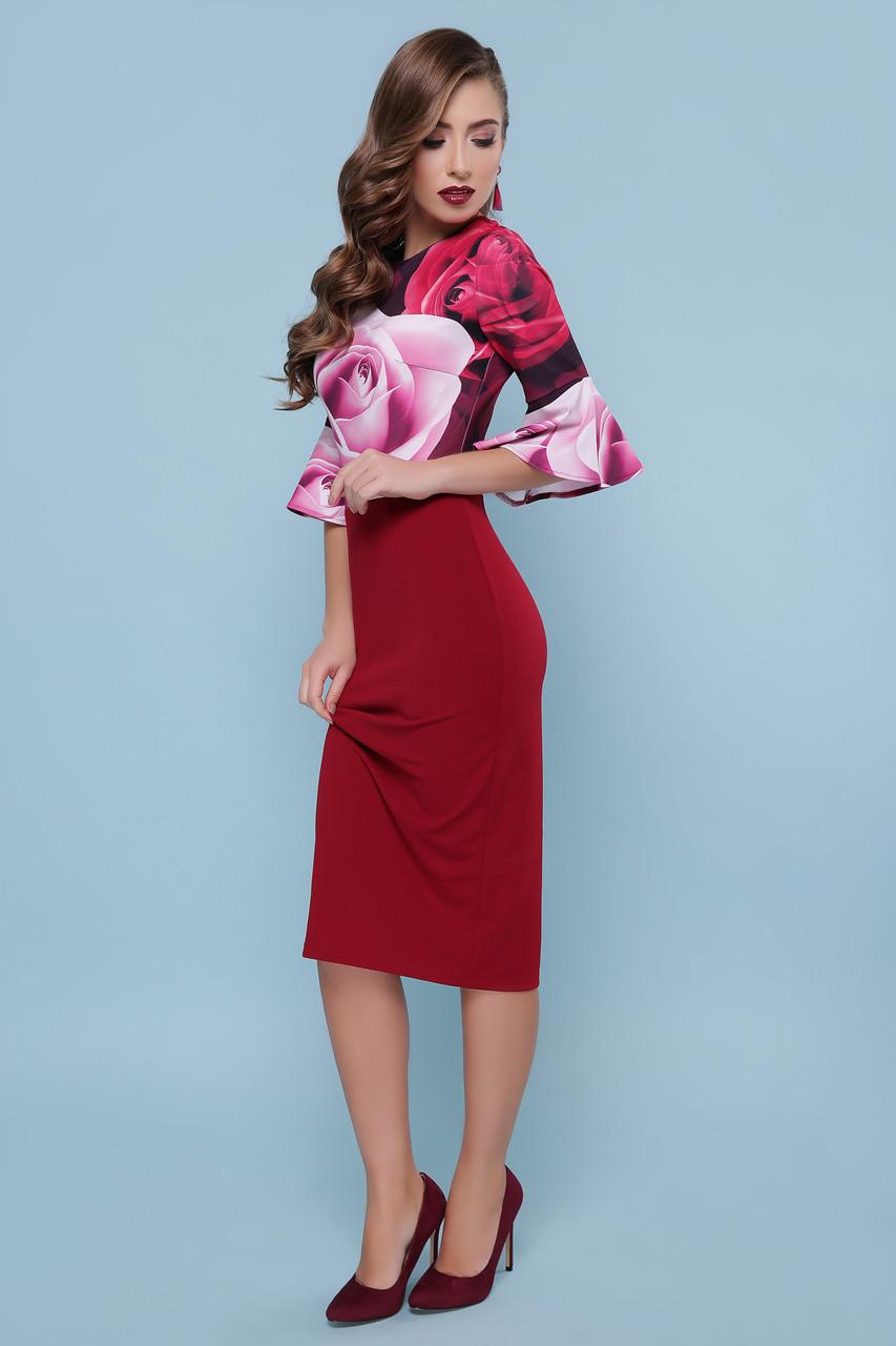 Платье облегающее с цветами Джес