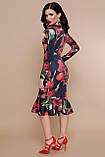 Платье трикотажное черное с красными цветами Фаина, фото 2