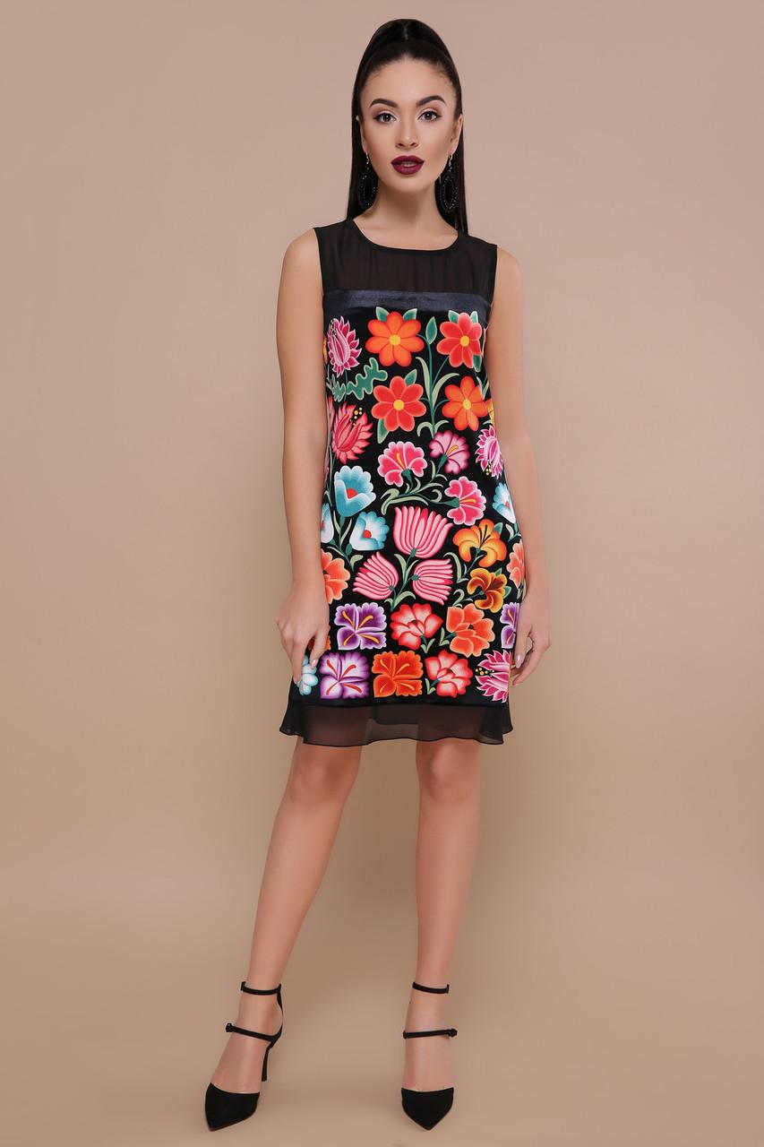 Платье черное с цветочным принтом Эдита