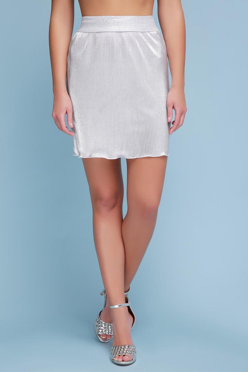 Летняя мини юбка с плиссировкой серебро