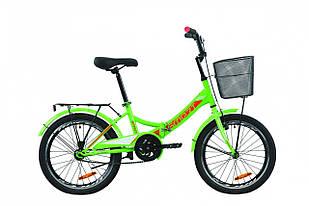 """Велосипед 20"""" Formula SMARTс багажником зад St, з крилом St, з кошиком St 2020 (зелено-червоний з білим)"""