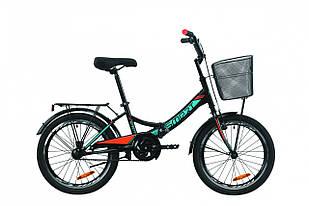 """Велосипед 20"""" Formula SMARTс багажником зад St, з крилом St, з кошиком St 2020 (чорно-помаранчевий з бірюзовим (м))"""