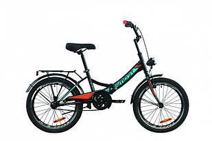 """Велосипед 20"""" Formula SMART з багажником зад St, з крилом St, з ліхтарем 2020 (чорно-помаранчевий з бірюзовим (м))"""