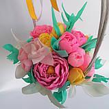 Букет з мильних квітів у кошику Квіткова композиція з мила ручної роботи Мильний букет, фото 10