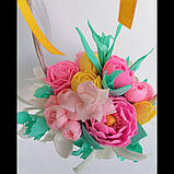 Букет з мильних квітів у кошику Квіткова композиція з мила ручної роботи Мильний букет, фото 9