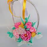 Букет з мильних квітів у кошику Квіткова композиція з мила ручної роботи Мильний букет, фото 8