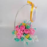 Букет з мильних квітів у кошику Квіткова композиція з мила ручної роботи Мильний букет, фото 7