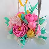Букет з мильних квітів у кошику Квіткова композиція з мила ручної роботи Мильний букет, фото 6