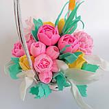 Букет з мильних квітів у кошику Квіткова композиція з мила ручної роботи Мильний букет, фото 5