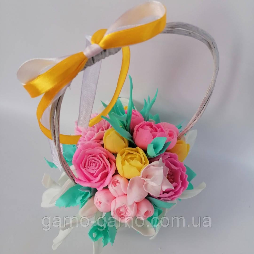 Букет з мильних квітів у кошику Квіткова композиція з мила ручної роботи Мильний букет