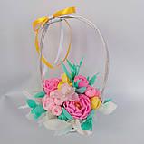 Букет з мильних квітів у кошику Квіткова композиція з мила ручної роботи Мильний букет, фото 4