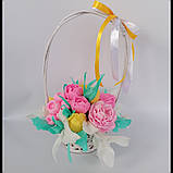 Букет з мильних квітів у кошику Квіткова композиція з мила ручної роботи Мильний букет, фото 3