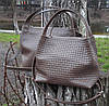 523-XL Натуральная кожа Сумка женская кофейная с тиснением 3D кожаная бежевая женская сумка мягкая коричневая, фото 5