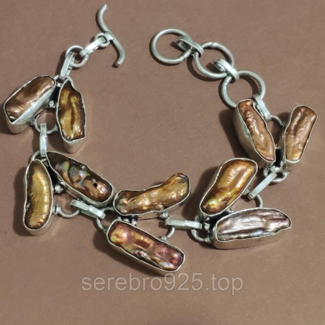 Браслет серебряный с барочным жемчугом