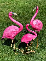 """Комплект садовых фигур """"Семья фламинго на металлических лапах"""" Н-110см, фото 1"""