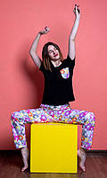 Женский домашний костюм, размер L, Мишки Гамми, женская пижама (футболка и брюки)